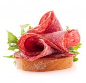pic of butter-lettuce  - sandwich with salami sausage on white background  cutout - JPG