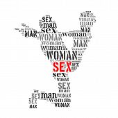 picture of kamasutra  - Woman man sex word cloud isolated on white background - JPG