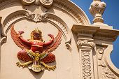 stock photo of garuda  - a garuda effigy in the wat phra kaew temple Bangkok Thailand - JPG