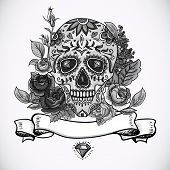 stock photo of day dead skull  - Monochrome Skull - JPG