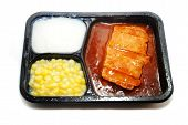 stock photo of frozen tv dinner  - BBQ Pork TV Dinner with Corn and Potatoes - JPG