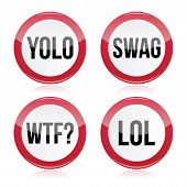 stock photo of slang  - Popular internet slang words icons set isolated on white - JPG