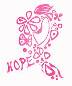 stock photo of causes cancer  - Pink breast cancer awareness ribbon made of different shapes and the word hope isolated on white - JPG