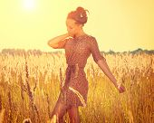 image of fall-wheat  - Beauty Romantic Autumn Girl Outdoors - JPG