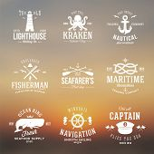picture of navy anchor  - Set of Vintage Nautical Labels or Signs With Retro Typography on Blured Background Anchors Steering Wheel Knots Seagulls and Wale - JPG