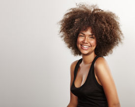 picture of afro hair  - happy black woman with an afro hair - JPG