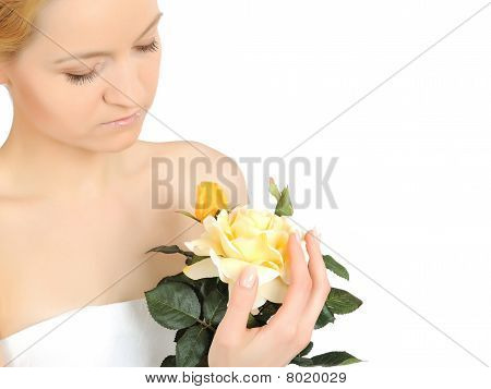 Beautiful Woman Holding Yellow Rose Plant