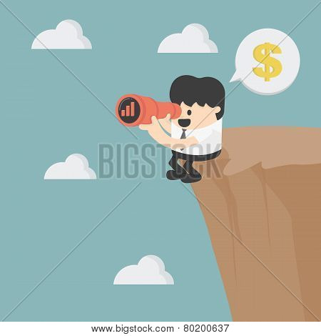 Businessman Looking On Cliff