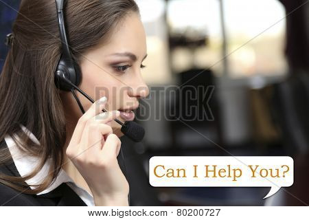 Call center operator and Can I help you? text
