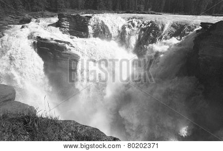 Canadian Landscape In Athabasca Falls. Alberta. Canada
