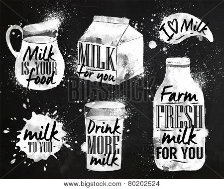 Milk symbolic drawing chalk