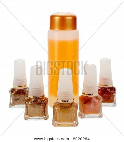 Gamma Of Nail Polish And Cream For Cleaning