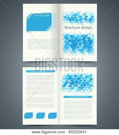 Geometric Blue Bifold Brochure Template Design, Business Leaflet, Booklet