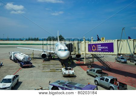 PHUKET, THAILAND - NOV 11: airbus docked at airport on November 11, 2014. Phuket International Airport is an airport serving Phuket Province of Thailand. It is the second busiest airport in Thailand