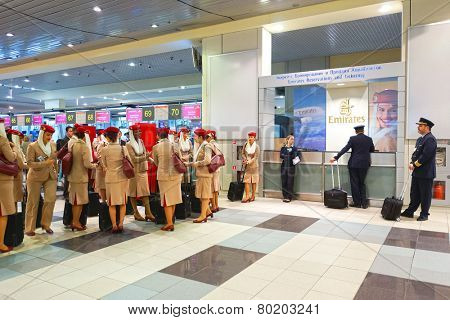 MOSCOW - OCT 12: Emirates Airbus A380 crew members in Domodedovo airport on October 12, 2014 in Moscow. Domodedovo International Airport is one of the three major airports that serve Moscow