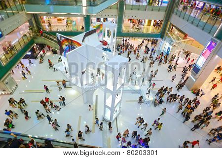 HONGKONG - MAY 17: shopping center interior on May 17, 2014 in Hongkong, China. Hong Kong has many nicknames, but the most famous is