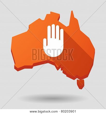 Australia Map Icon With A Hand