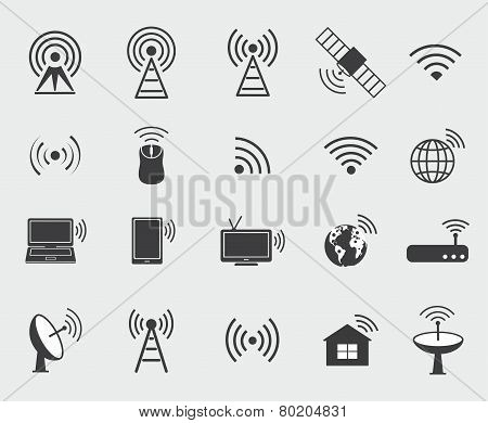 Black Wireless Icons. Set  Icons For Wifi Control Access And Radio Communication.