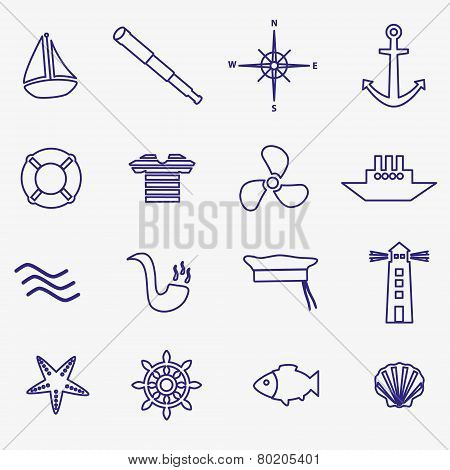 Nautical Blue Simple Outline Icons Set Eps10