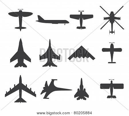 Planes Icons, Set On White Background