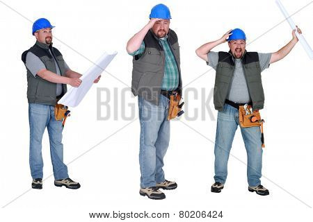 Chubby builder holding plans