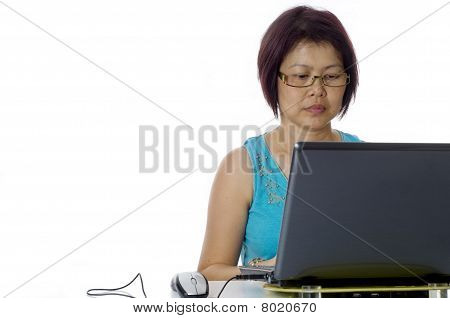 Adult Business Woman Working At Her Computer