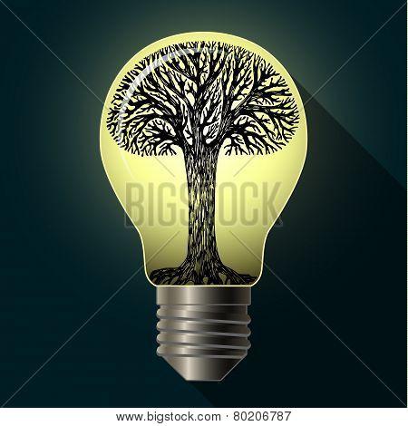 Eco bulb with tree
