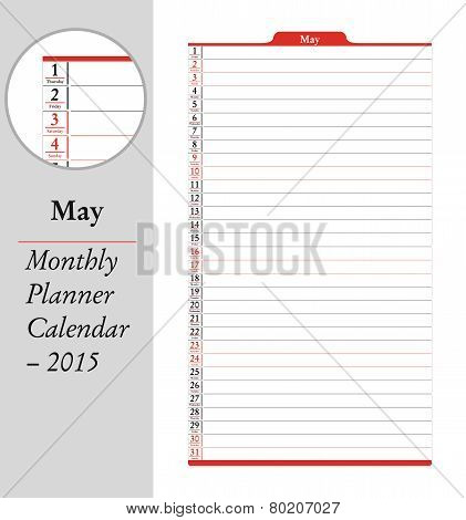 May, Montly Planner Calendar - 2015