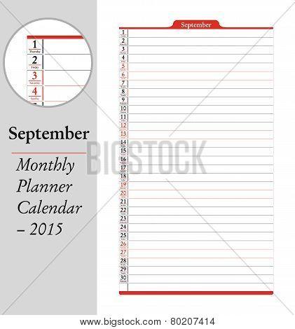 September, Montly Planner Calendar - 2015