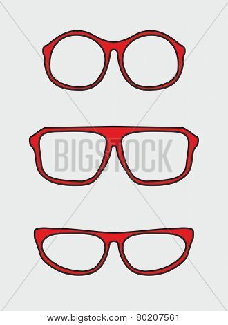 Red and black nerd glasses hipster illustration on grey background