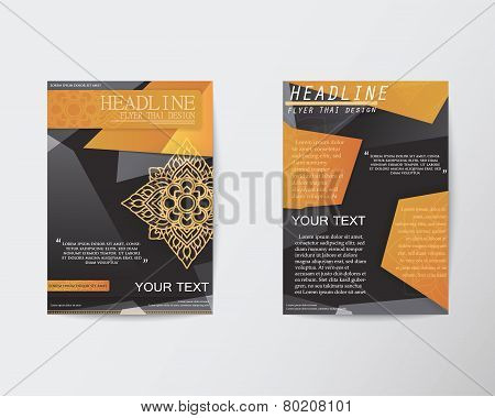Brochure Flyer Abstract Thai Style Template In A4 Size