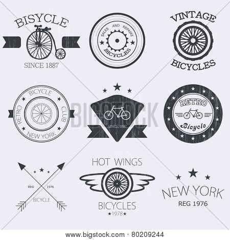 Bicycle shop logo set