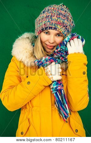 Winter Woman in knitting hat and scarf Fashion clothing