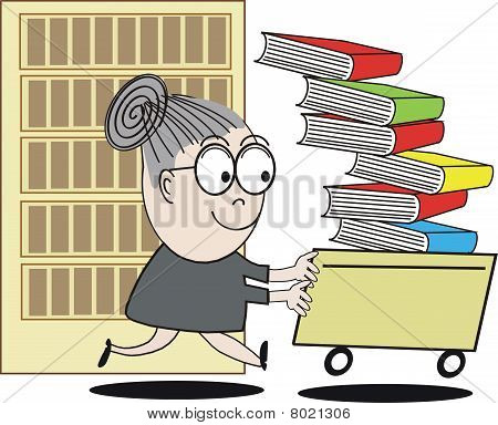 Funny librarian cartoon