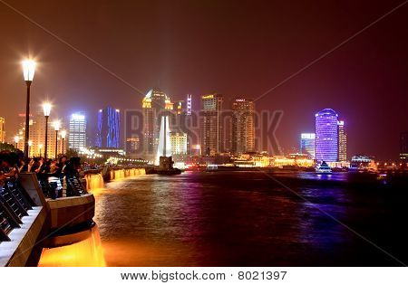 The Bund district along Huangpu River in Shanghai