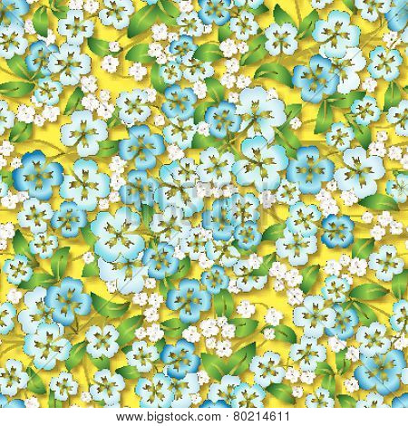 Abstract Floral Ornament On Yellow