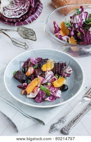 Beet, Orange, Radicchio, Olives Salad
