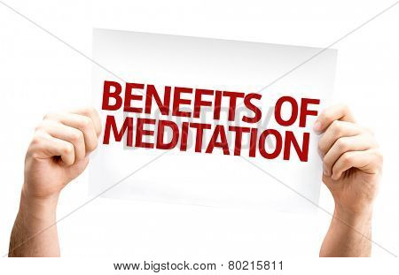 Benefits of Meditation card isolated on white background