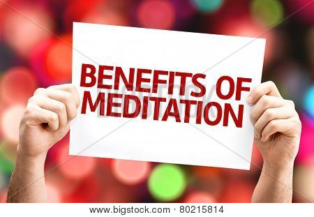 Benefits of Meditation card with colorful background with defocused lights