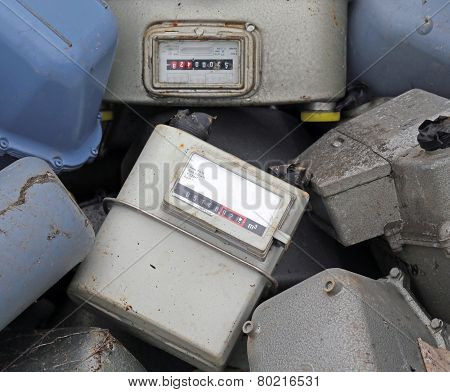 Old Obsolete Disused Gas Counters In A Landfill Of Toxic Waste