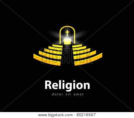 religion vector logo design template. church or temple icon.