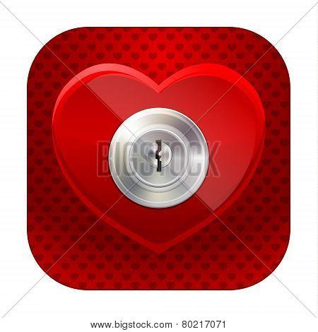 Shiny heart with a keyhole