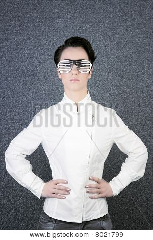 Futuristic Modern Businesswoman Steel Glasses