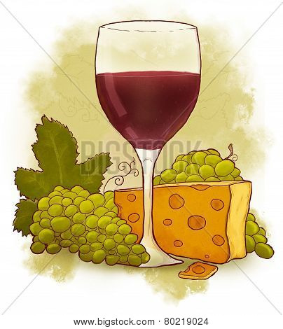 Glass of wine with cheese and grapes