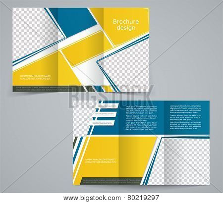 Tri-fold Business Brochure Template, Vector Yellow-blue Design Flyer