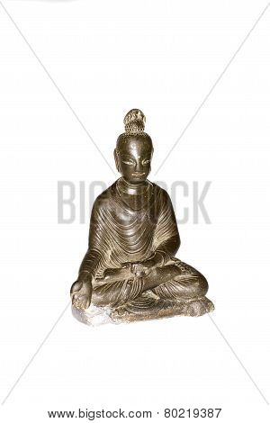 Figure Of Buddha In Bronze On A White Background