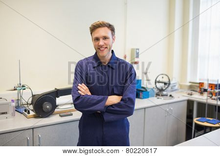 Engineering student smiling at camera at the university