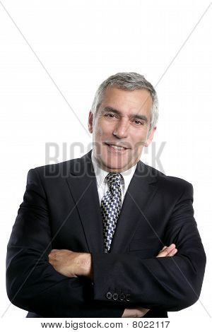 Happy Senior Businessman Smiling Gray Hair