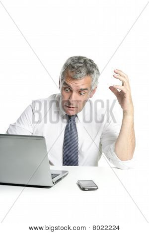 Angry Sad Senior Gray Hair Businessman Laptop