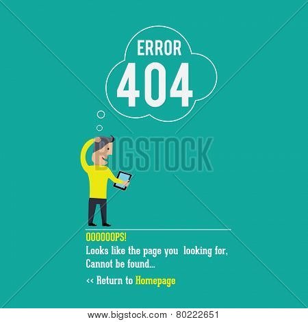 404 error page. Vector illustration.